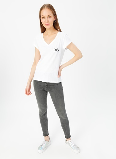 Only Only Beyaz T-Shirt Beyaz